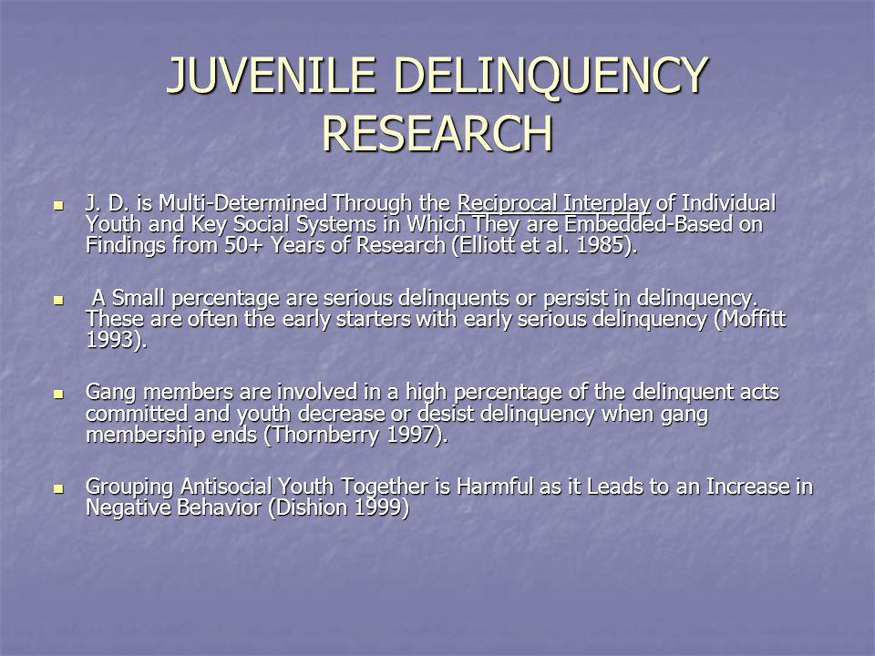 JUVENILE DELINQUENCY RESEARCH J. D.