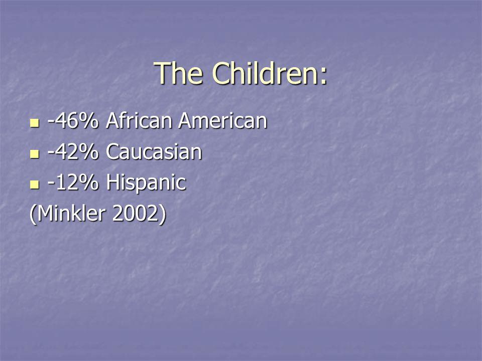 The Children: -46% African American -46% African American -42% Caucasian -42% Caucasian -12% Hispanic -12% Hispanic (Minkler 2002)