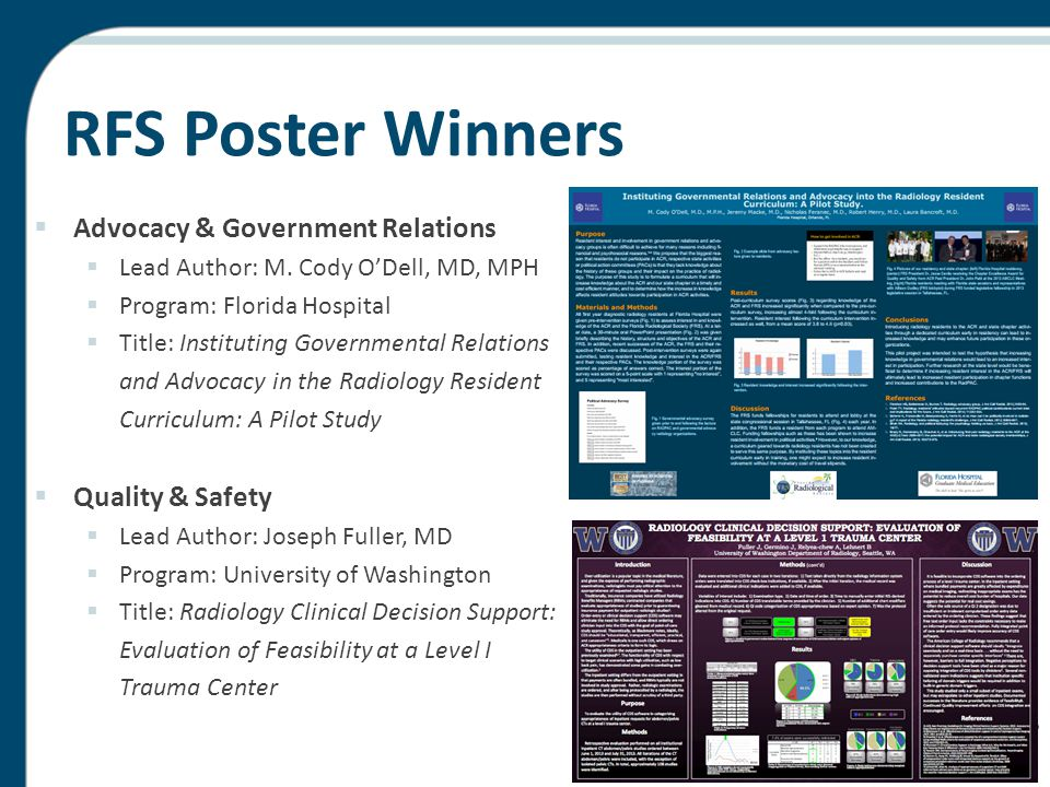 RFS Poster Winners  Advocacy & Government Relations  Lead Author: M. Cody O'Dell, MD, MPH  Program: Florida Hospital  Title: Instituting Governmen