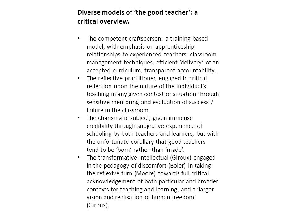 Diverse models of 'the good teacher': a critical overview. The competent craftsperson: a training-based model, with emphasis on apprenticeship relatio