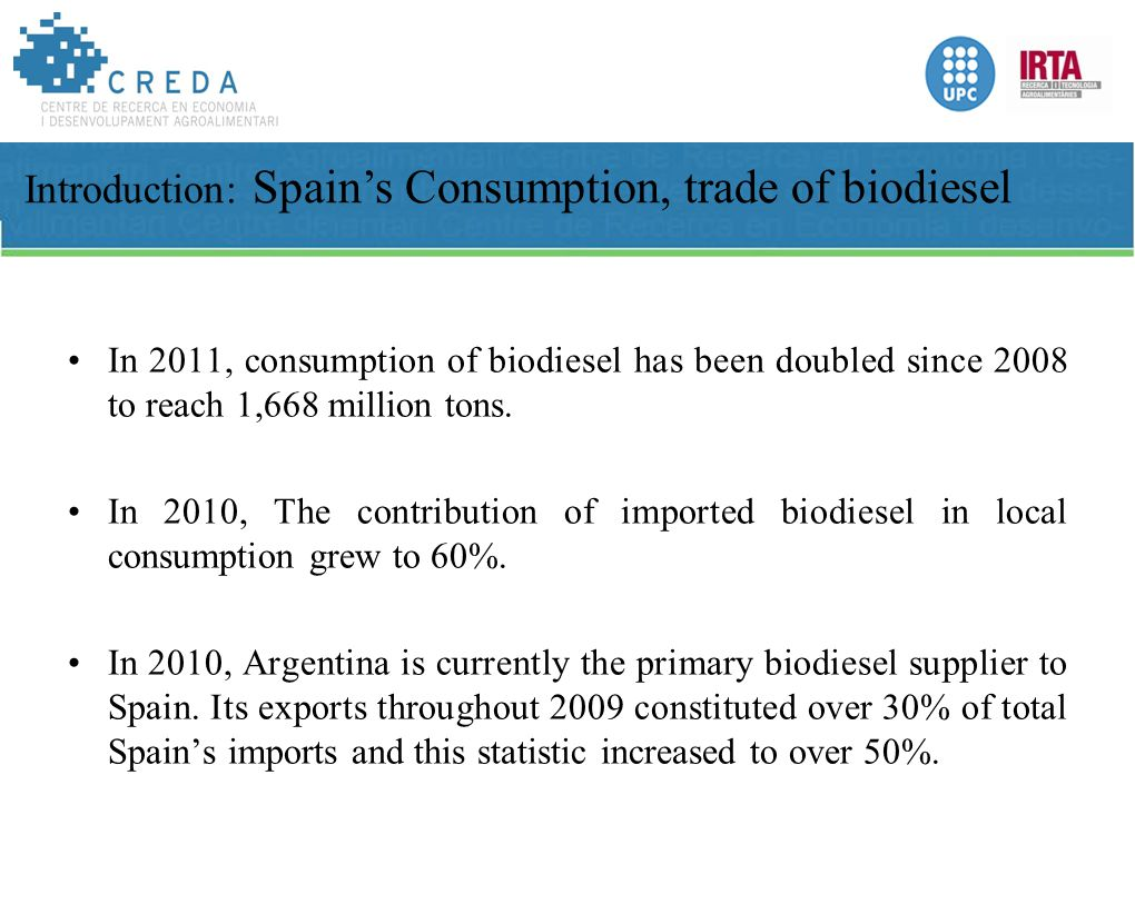 In 2011, consumption of biodiesel has been doubled since 2008 to reach 1,668 million tons.