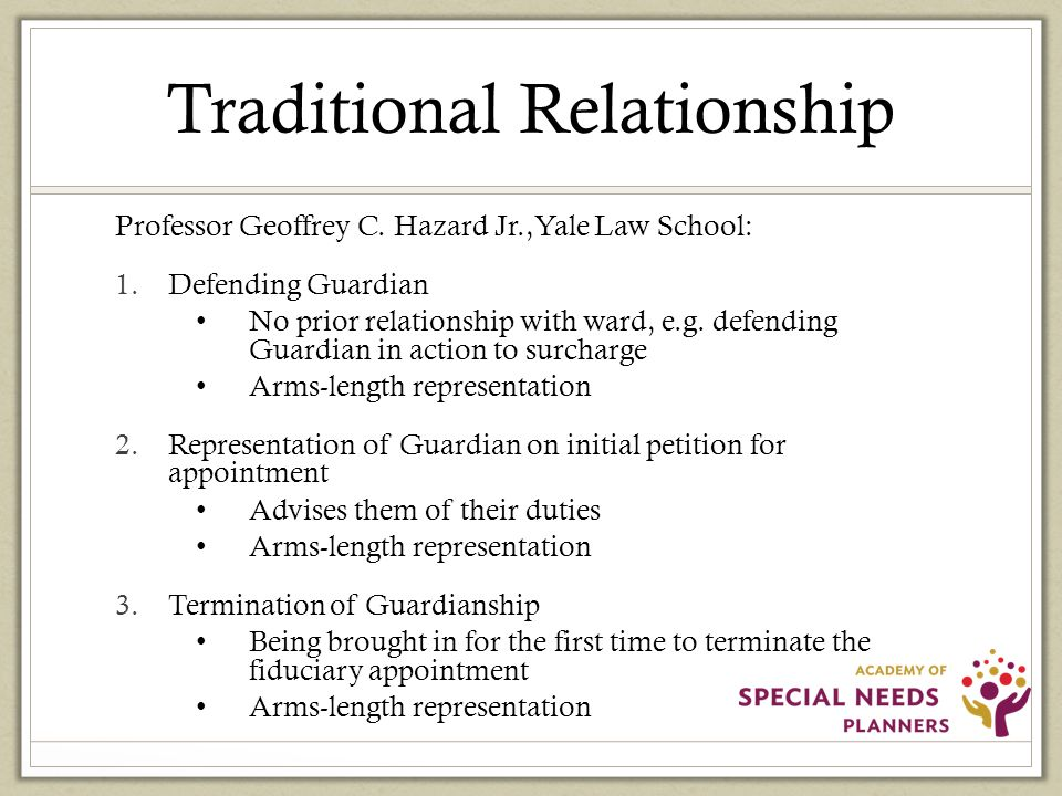 Expanding Traditional Relationships Derivative relationship like that in joint representation Basis is duty of confidentiality Confidentiality: Information between parties-lawyer, guardian and ward.