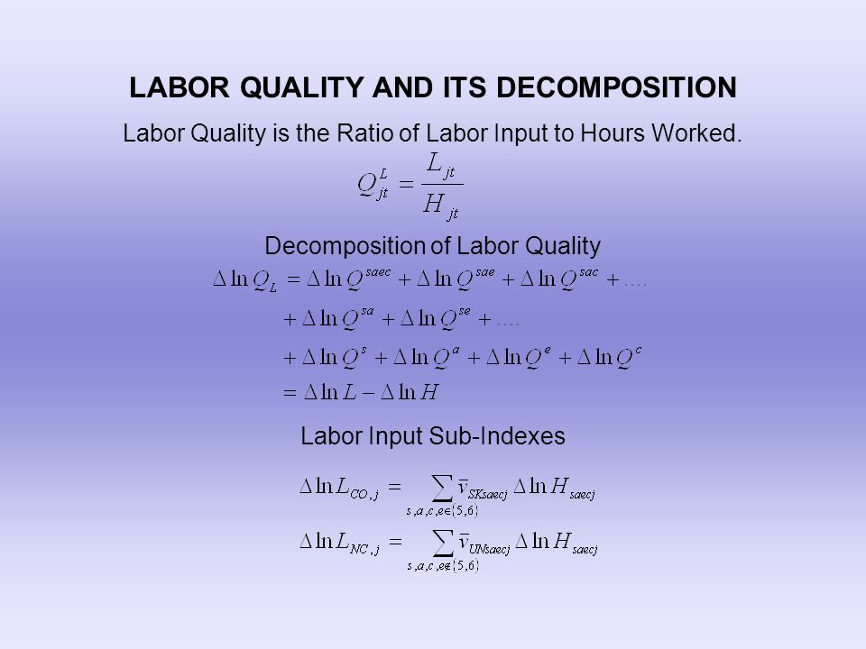 LABOR QUALITY AND ITS DECOMPOSITION Labor Quality is the Ratio of Labor Input to Hours Worked. Decomposition of Labor Quality Labor Input Sub-Indexes