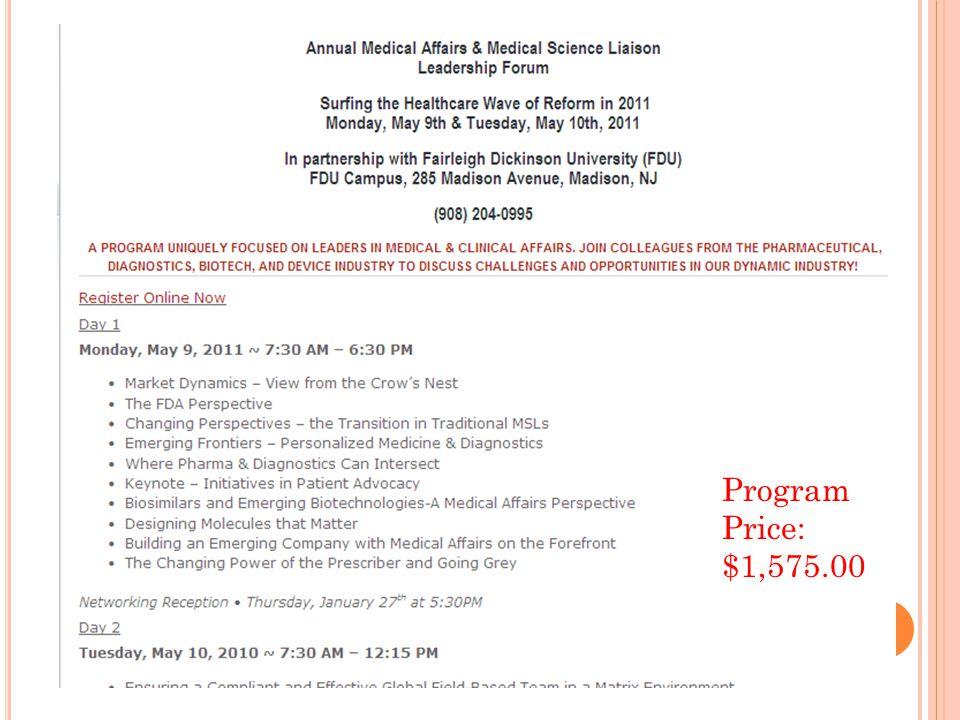 Program Price: $1,575.00