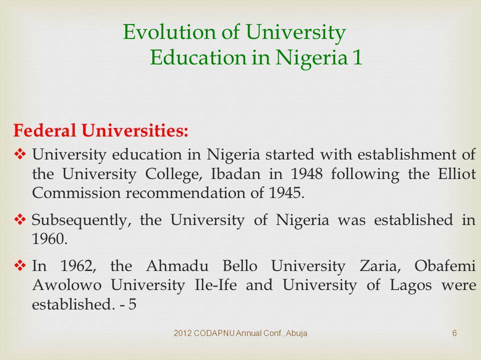  2012 CODAPNU Annual Conf., Abuja17 Funding for Federal Universities ( ₦ billions)
