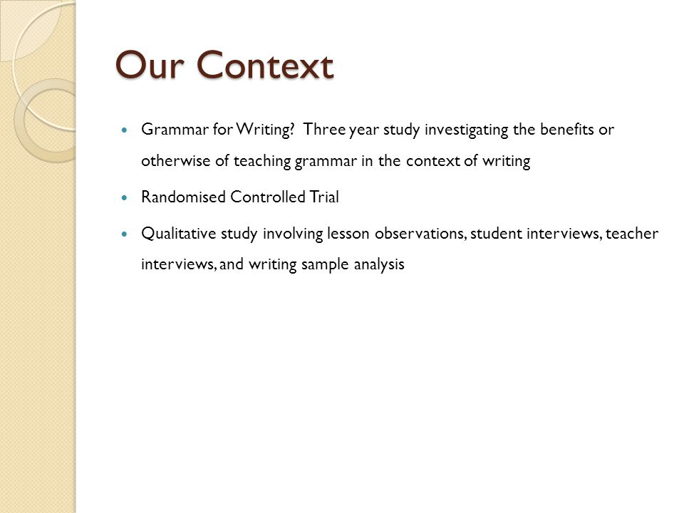 Our Context Grammar for Writing.