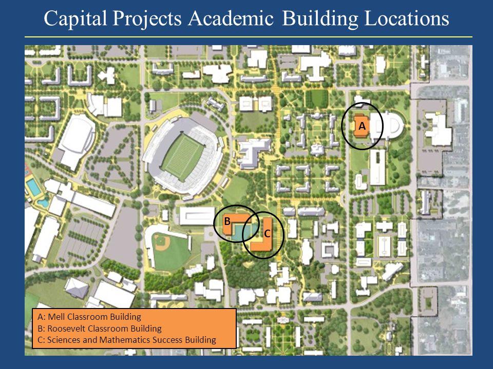 Capital Projects Academic Building Locations A: Mell Classroom Building B: Roosevelt Classroom Building C: Sciences and Mathematics Success Building A