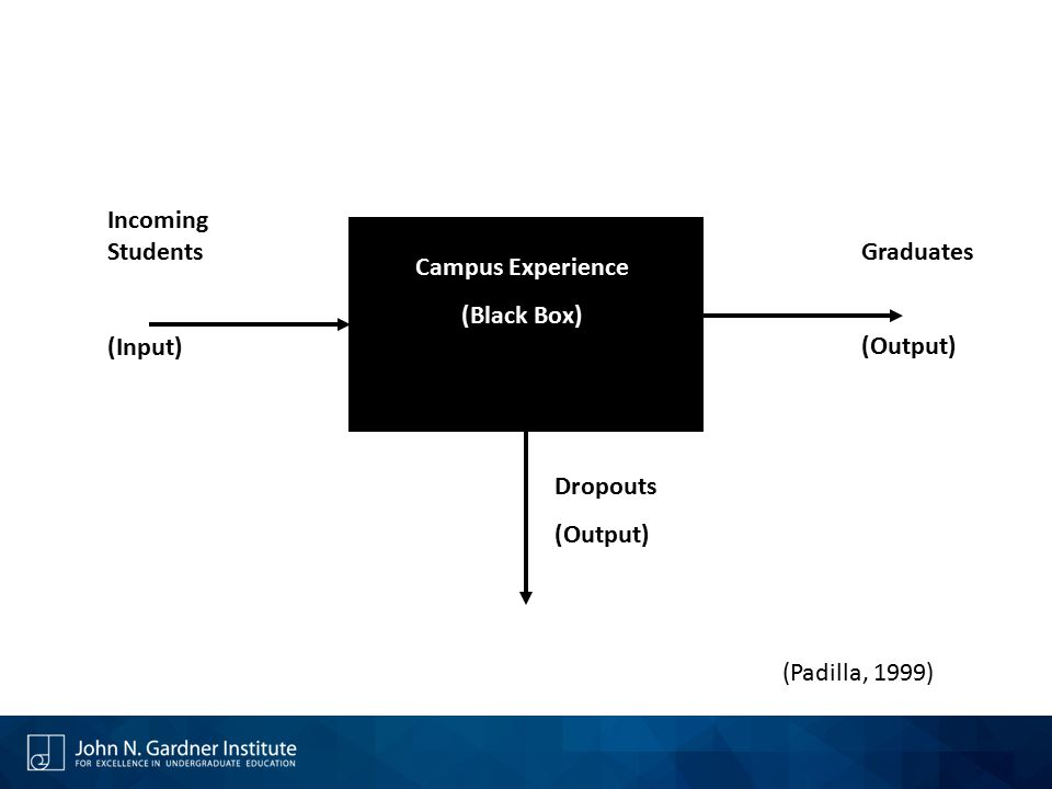 Campus Experience (Black Box) Incoming Students (Input) Graduates (Output) Dropouts (Output) (Padilla, 1999)
