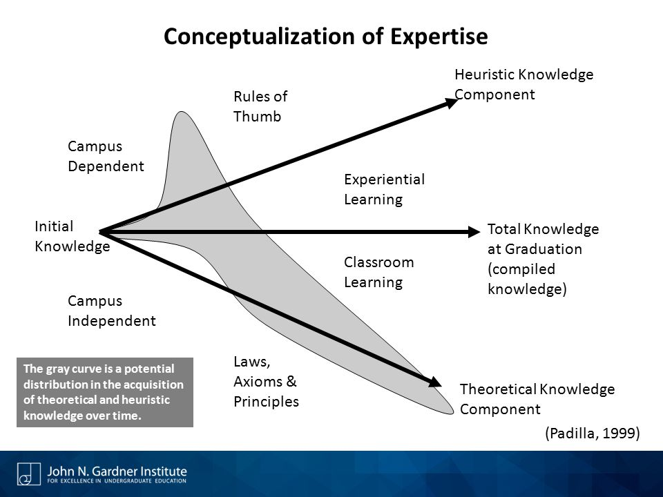 Initial Knowledge Campus Dependent Campus Independent Laws, Axioms & Principles Classroom Learning Experiential Learning Rules of Thumb Heuristic Knowledge Component Total Knowledge at Graduation (compiled knowledge) Theoretical Knowledge Component Conceptualization of Expertise The gray curve is a potential distribution in the acquisition of theoretical and heuristic knowledge over time.