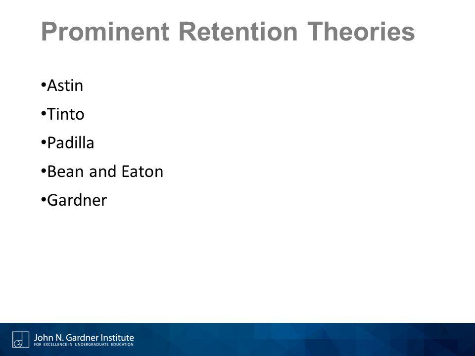 Prominent Retention Theories Astin Tinto Padilla Bean and Eaton Gardner