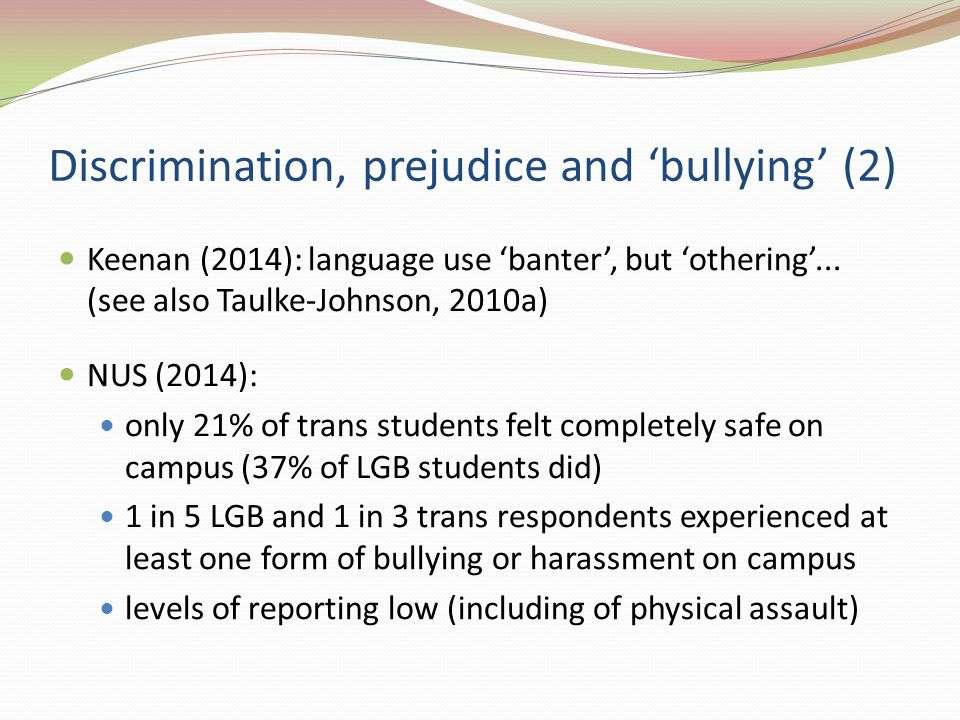 Discrimination, prejudice and 'bullying' (2) Keenan (2014): language use 'banter', but 'othering'...