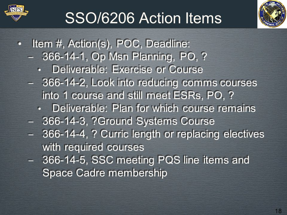 18 SSO/6206 Action Items Item #, Action(s), POC, Deadline: ‒ 366-14-1, Op Msn Planning, PO, .