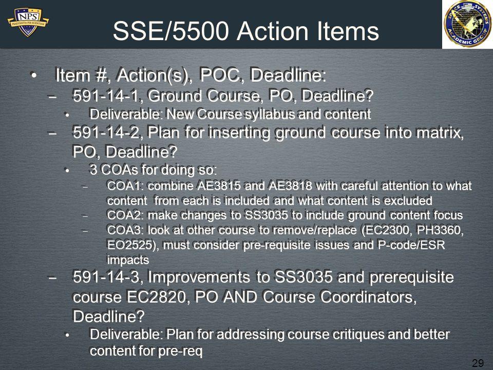 29 SSE/5500 Action Items Item #, Action(s), POC, Deadline: ‒ 591-14-1, Ground Course, PO, Deadline.