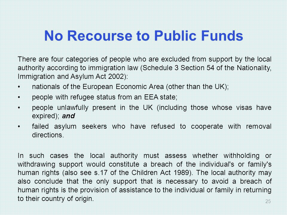 No Recourse to Public Funds There are four categories of people who are excluded from support by the local authority according to immigration law (Sch