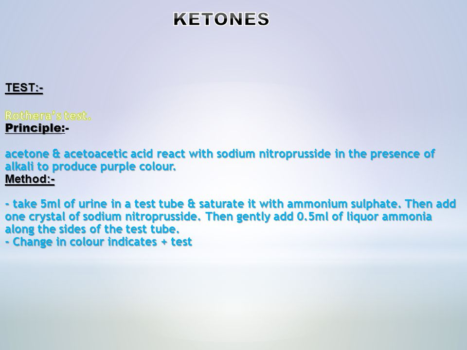 NegativeNegative Trace (5 mg/dL) + (15 mg/dL) ++ (40 mg/dL) +++ (80 mg/dL) ++++ (160+ mg/dL)