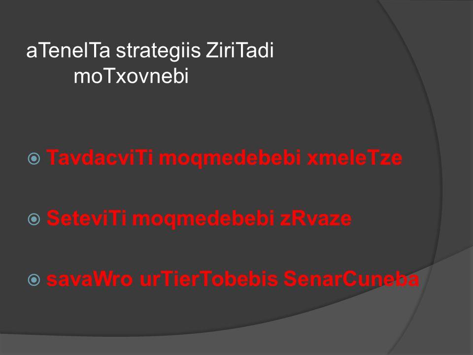 aTenelTa strategiis ZiriTadi moTxovnebi  TavdacviTi moqmedebebi xmeleTze  SeteviTi moqmedebebi zRvaze  savaWro urTierTobebis SenarCuneba