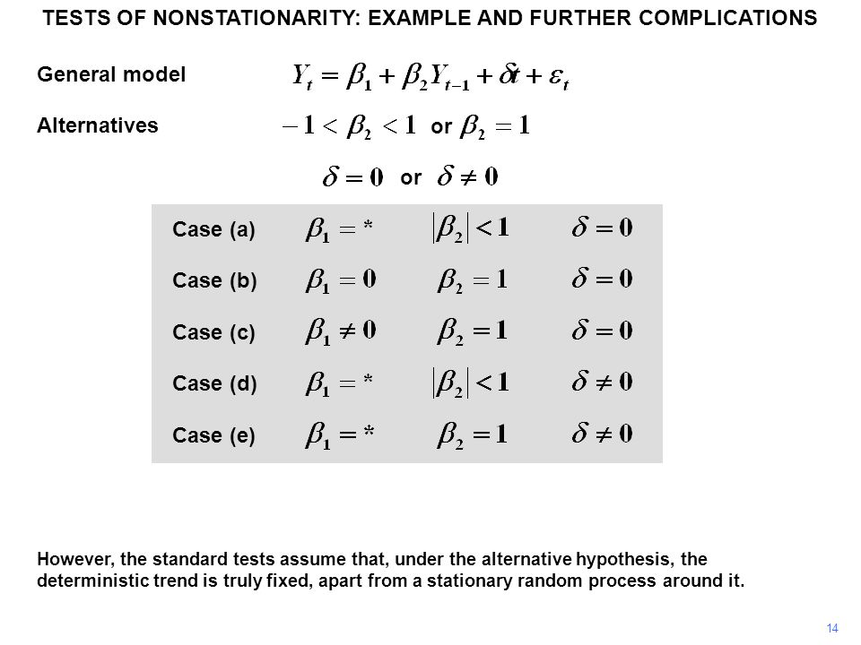 General model Alternatives Case (a) Case (b) Case (c) Case (d) Case (e) 14 However, the standard tests assume that, under the alternative hypothesis, the deterministic trend is truly fixed, apart from a stationary random process around it.