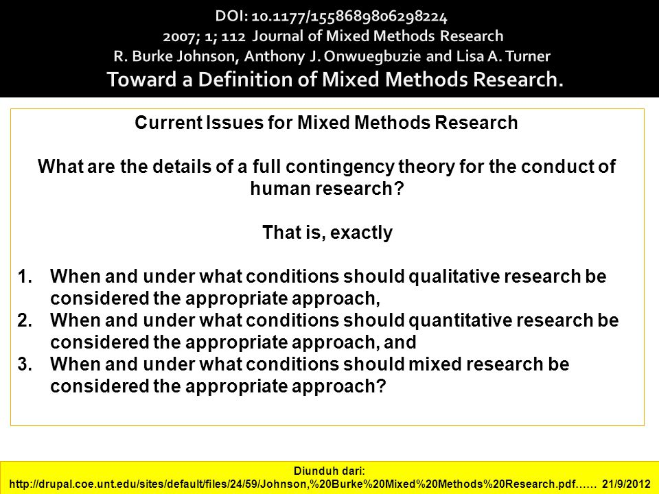 Current Issues for Mixed Methods Research What are the details of a full contingency theory for the conduct of human research.