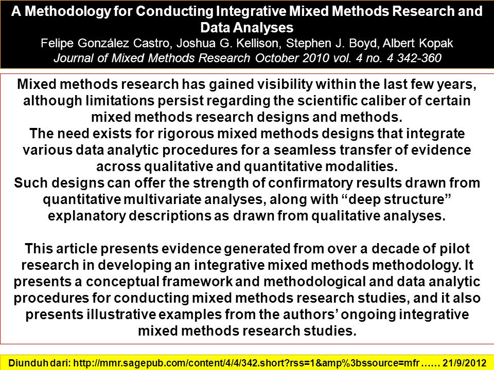 A Methodology for Conducting Integrative Mixed Methods Research and Data Analyses Felipe González Castro, Joshua G.