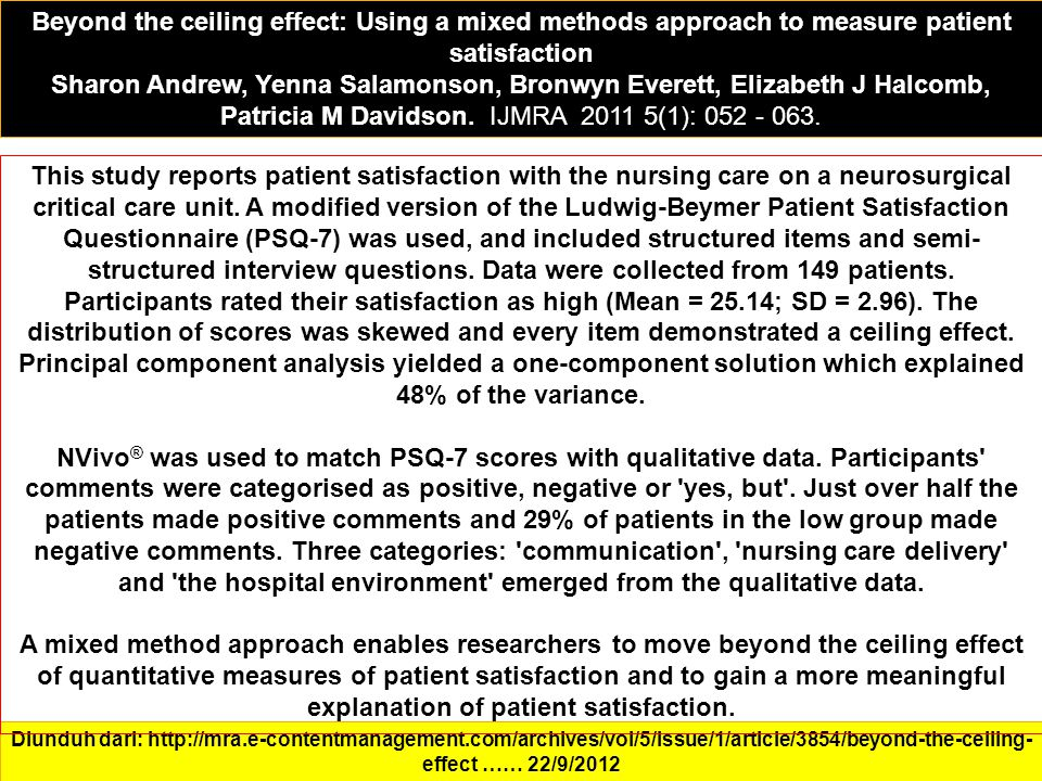 Beyond the ceiling effect: Using a mixed methods approach to measure patient satisfaction Sharon Andrew, Yenna Salamonson, Bronwyn Everett, Elizabeth