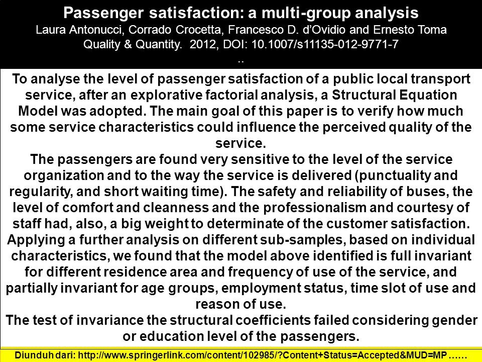 Passenger satisfaction: a multi-group analysis Laura Antonucci, Corrado Crocetta, Francesco D.