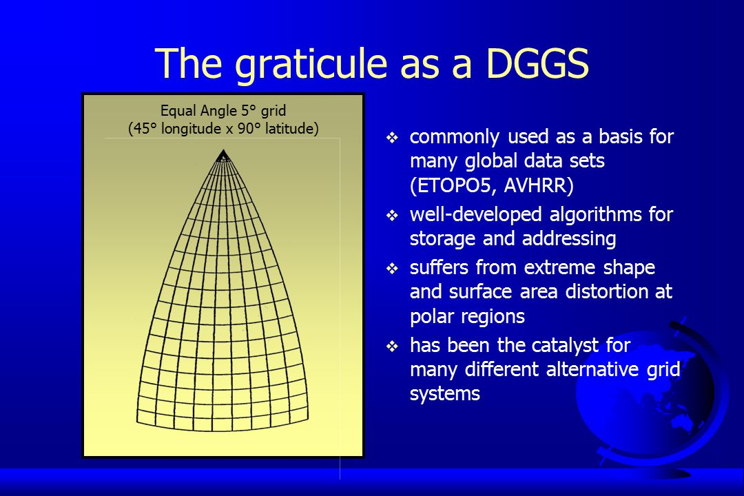 The graticule as a DGGS  commonly used as a basis for many global data sets (ETOPO5, AVHRR)  well-developed algorithms for storage and addressing  suffers from extreme shape and surface area distortion at polar regions  has been the catalyst for many different alternative grid systems Equal Angle 5° grid (45° longitude x 90° latitude)