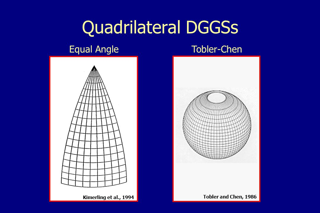 Spherical subdivision DGGSs Direct Spherical SubdivisionSmall Circle Subdivision Kimerling et al., 1994Song, 1998