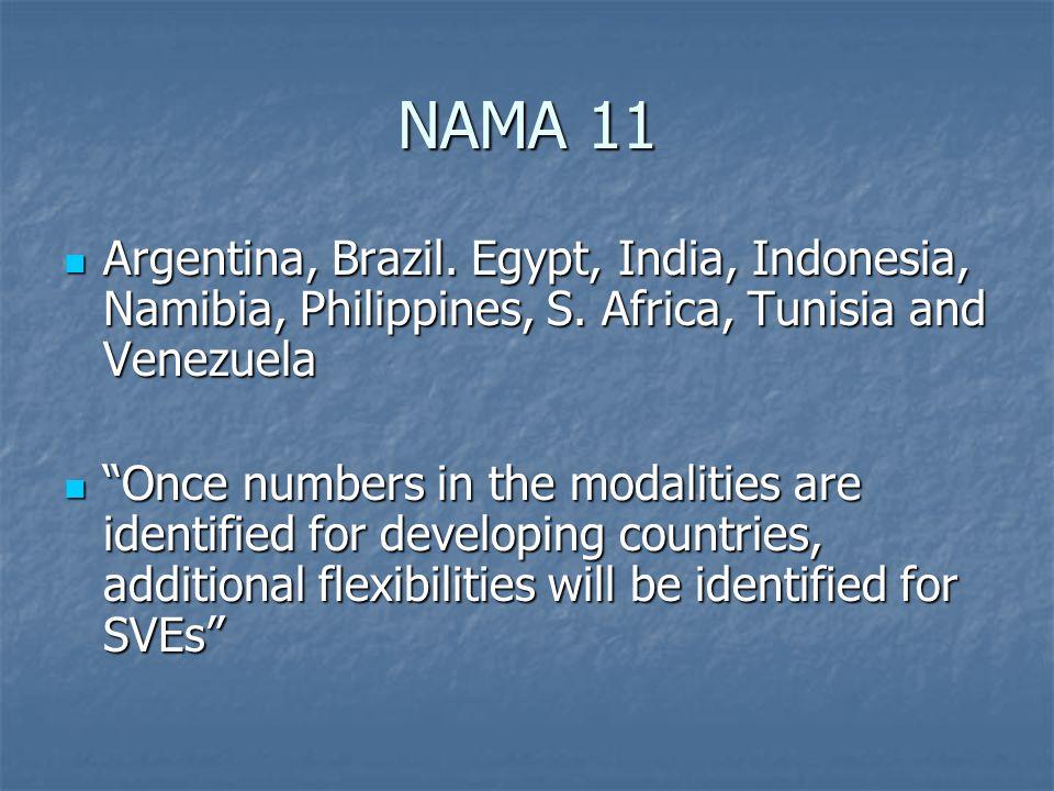 NAMA 11 Argentina, Brazil. Egypt, India, Indonesia, Namibia, Philippines, S.