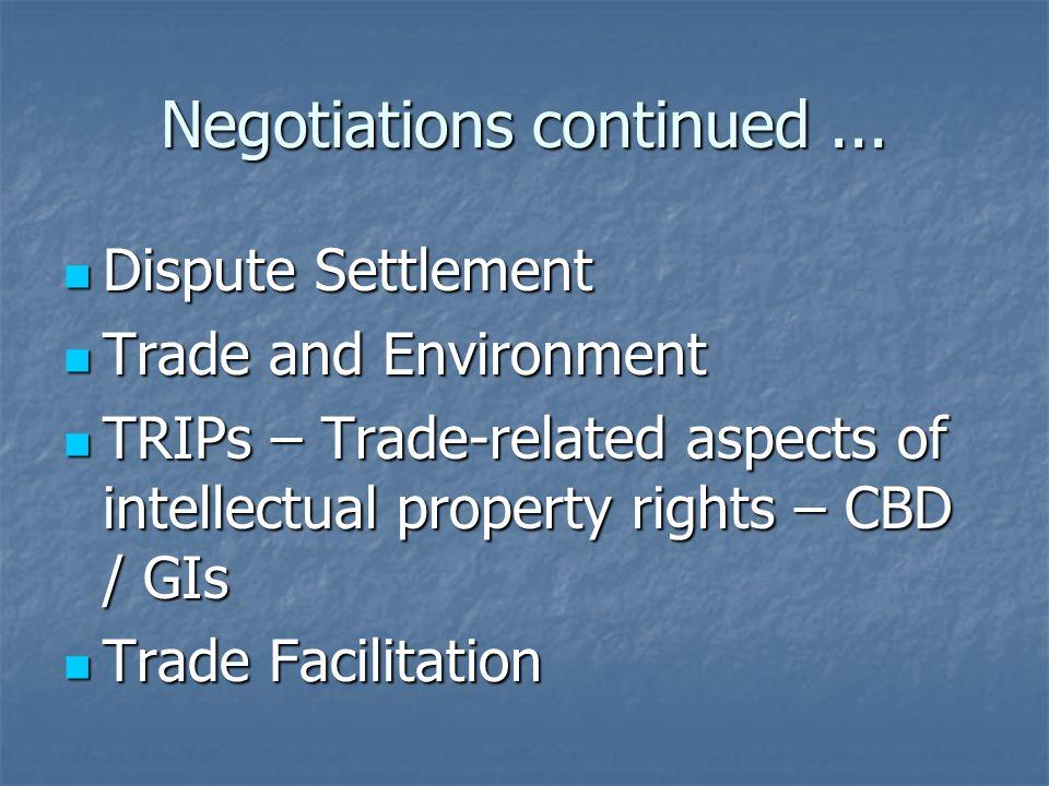 Negotiations continued...