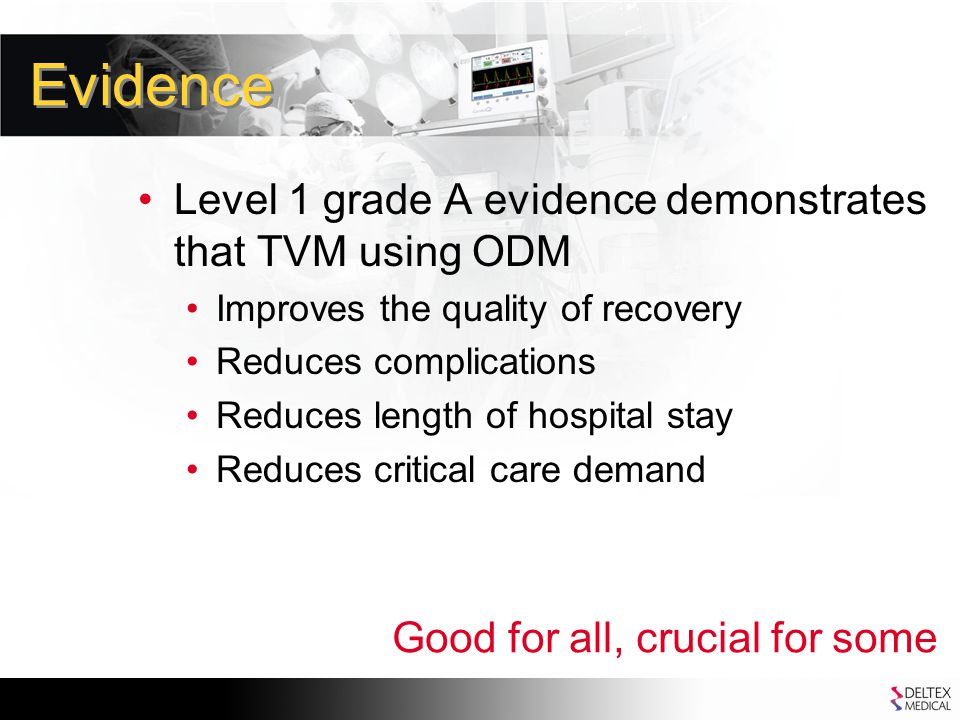 Evidence Level 1 grade A evidence demonstrates that TVM using ODM Improves the quality of recovery Reduces complications Reduces length of hospital stay Reduces critical care demand Good for all, crucial for some