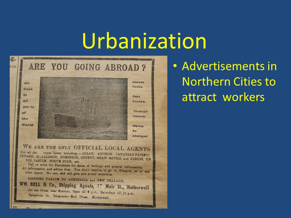 Urbanization Advertisements in Northern Cities to attract workers