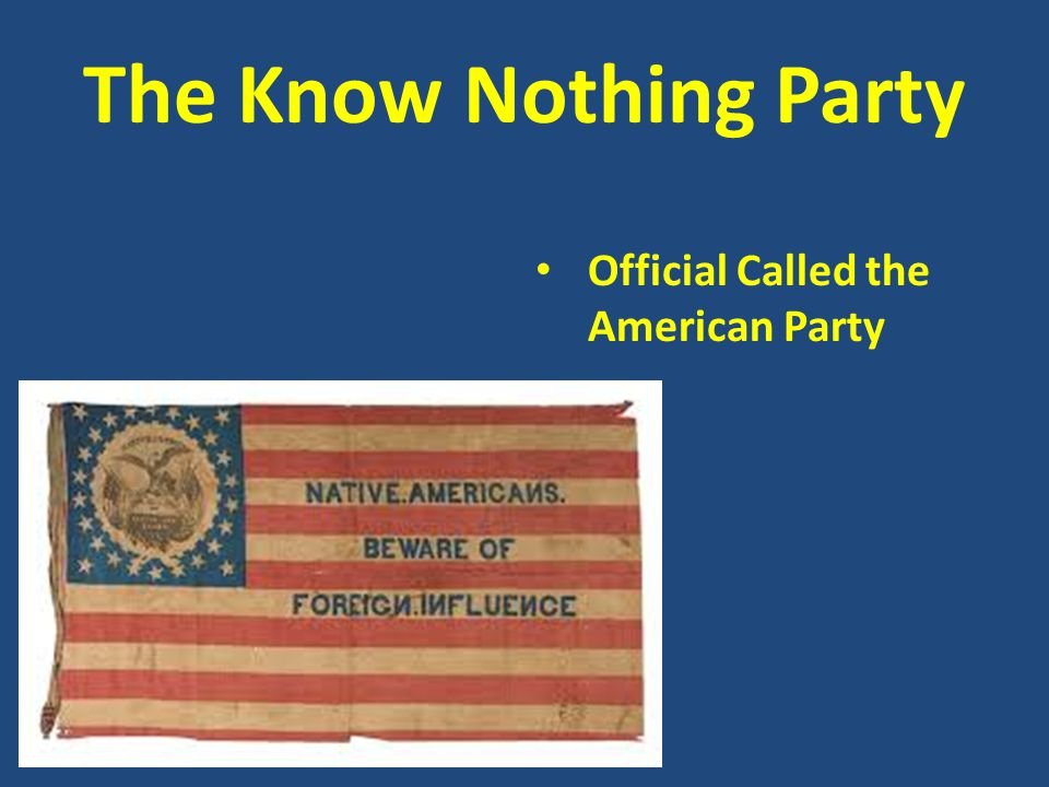 The Know Nothing Party Official Called the American Party