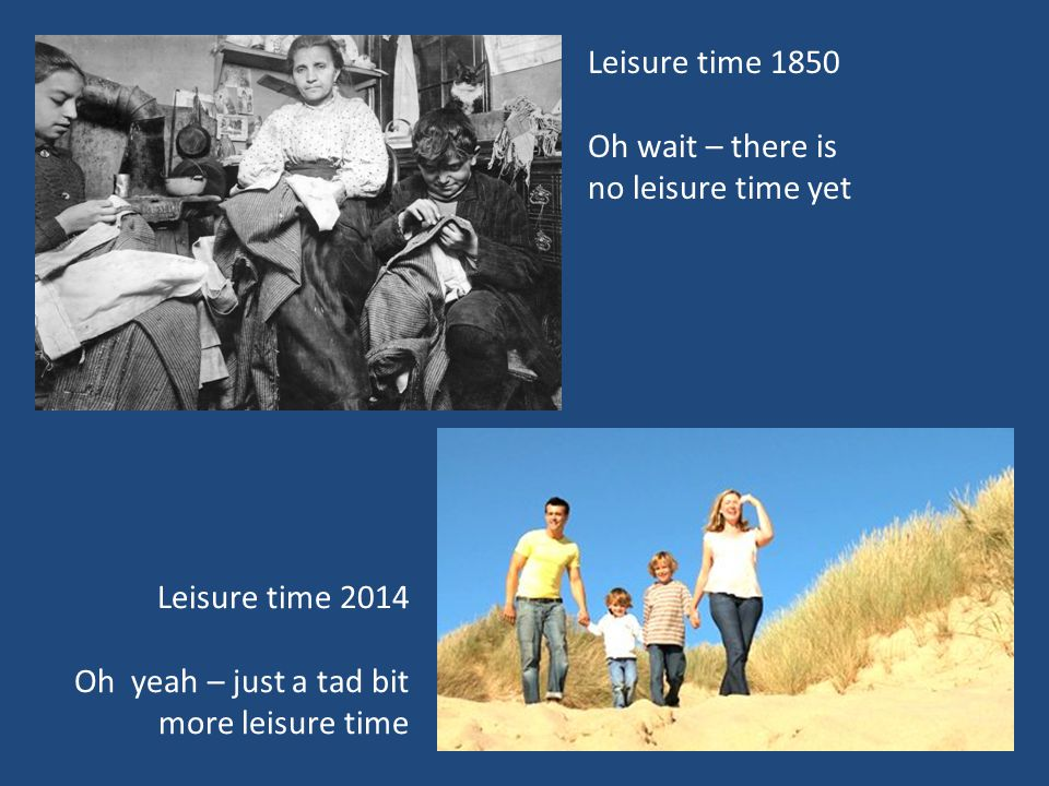 Leisure time 1850 Oh wait – there is no leisure time yet Leisure time 2014 Oh yeah – just a tad bit more leisure time