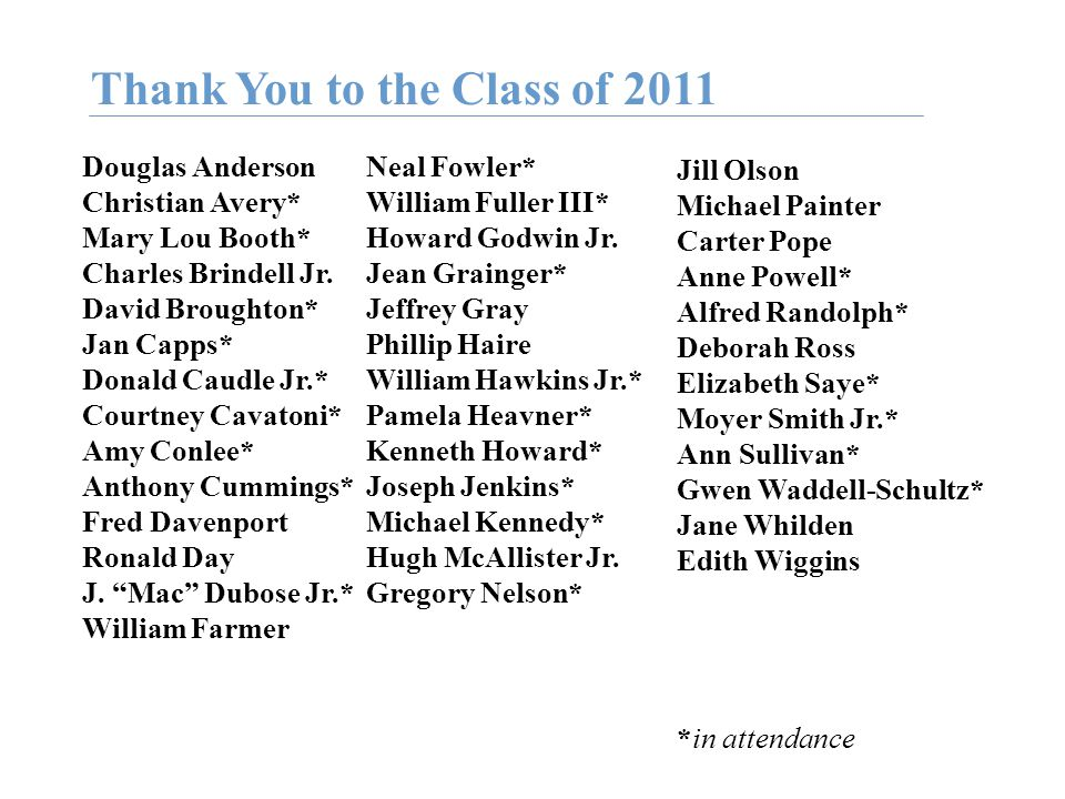 Thank You to the Class of 2011 Douglas Anderson Christian Avery* Mary Lou Booth* Charles Brindell Jr.