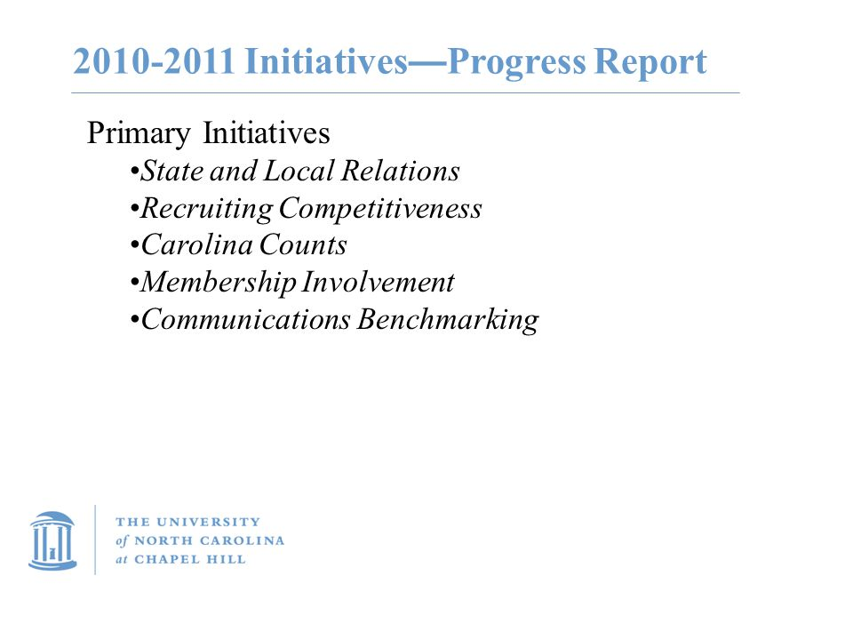 2010-2011 Initiatives — Progress Report Primary Initiatives State and Local Relations Recruiting Competitiveness Carolina Counts Membership Involvemen