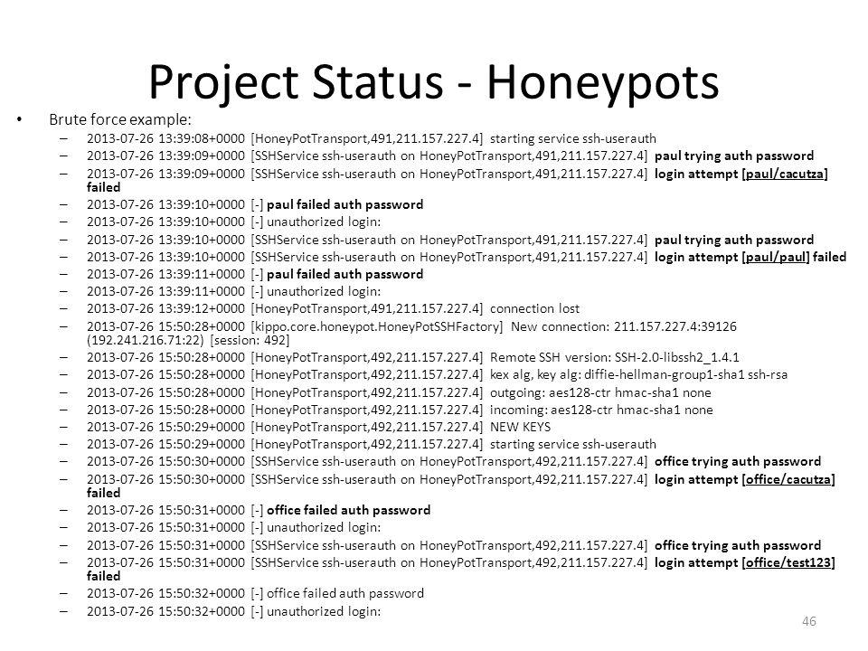 Project Status - Honeypots Brute force example: – 2013-07-26 13:39:08+0000 [HoneyPotTransport,491,211.157.227.4] starting service ssh-userauth – 2013-