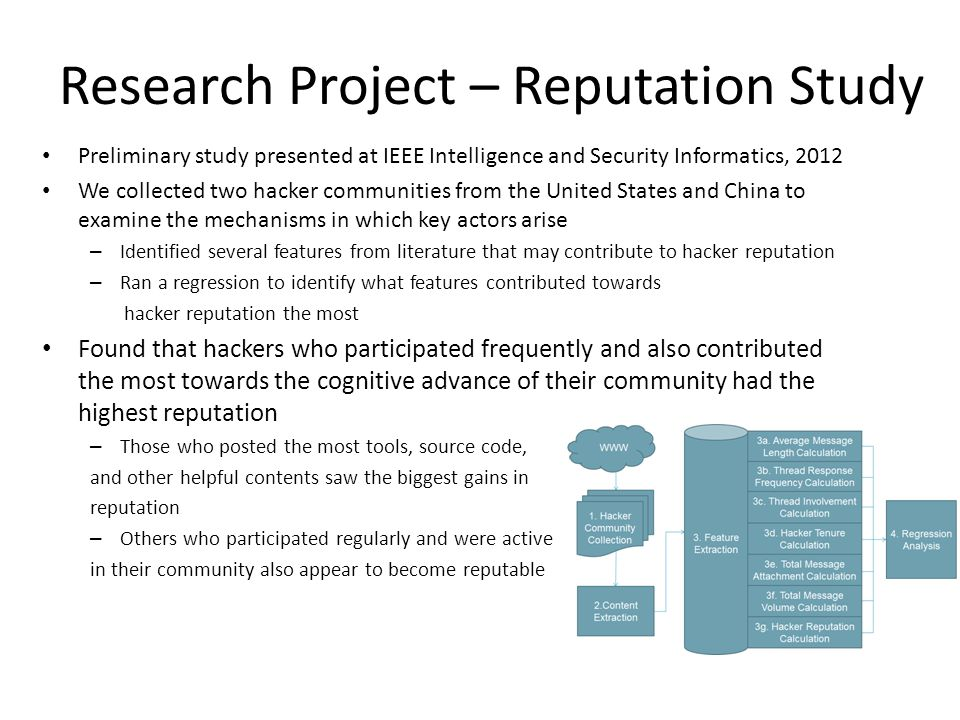 Research Project – Reputation Study Preliminary study presented at IEEE Intelligence and Security Informatics, 2012 We collected two hacker communitie