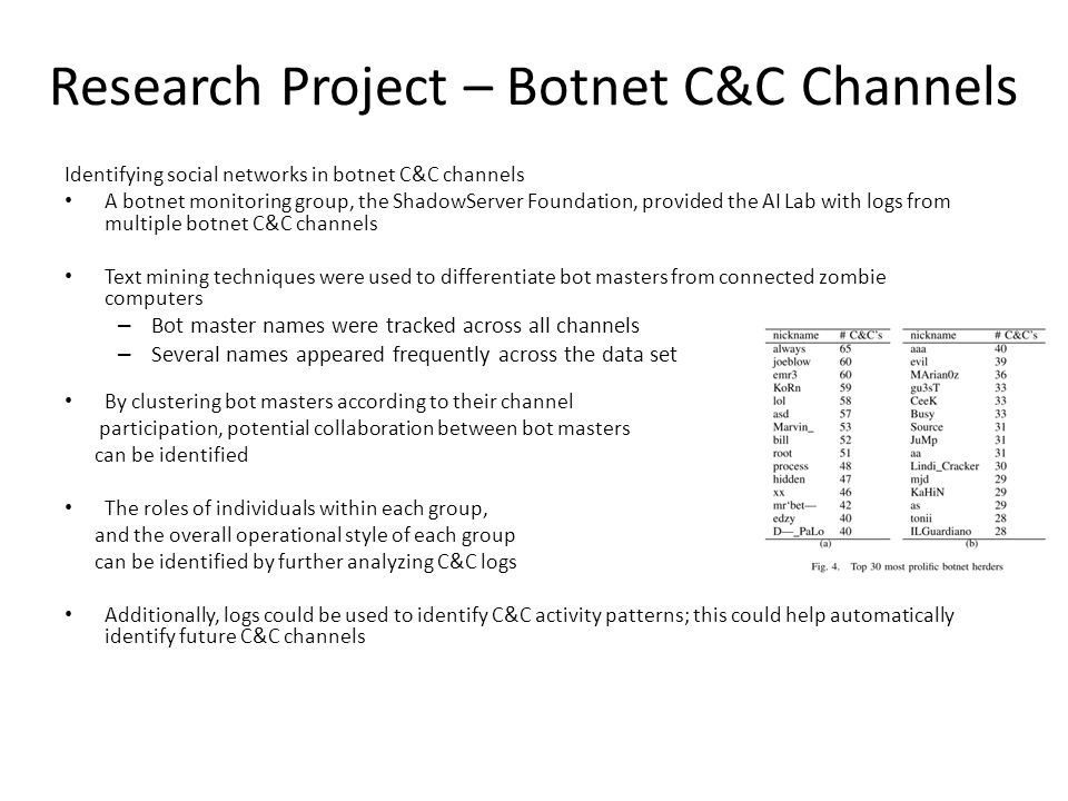 Research Project – Botnet C&C Channels Identifying social networks in botnet C&C channels A botnet monitoring group, the ShadowServer Foundation, prov