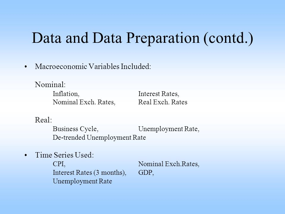 Data and Data Preparation (contd.) Macroeconomic Variables Included: Nominal: Inflation,Interest Rates, Nominal Exch.