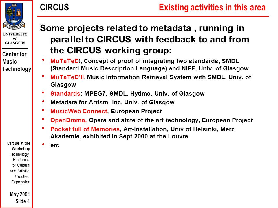 Center for Music Technology Circus at the Workshop Technology Platforms for Cultural and Artistic Creative Expression May 2001 Slide 4 Some projects related to metadata, running in parallel to CIRCUS with feedback to and from the CIRCUS working group:  MuTaTeD!, Concept of proof of integrating two standards, SMDL (Standard Music Description Language) and NIFF, Univ.