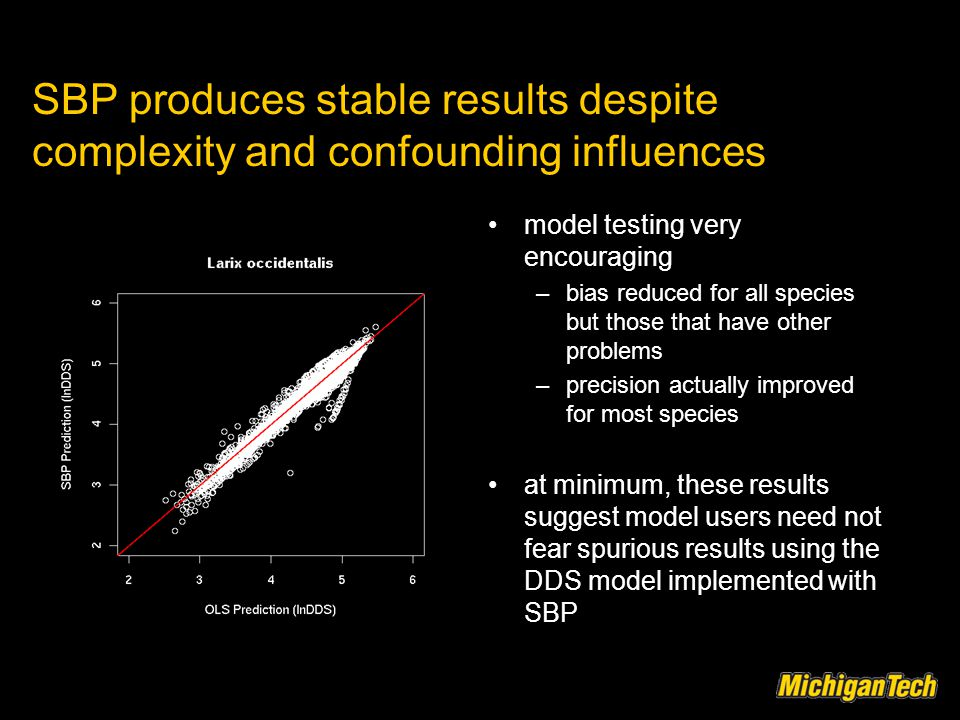 SBP produces stable results despite complexity and confounding influences model testing very encouraging –bias reduced for all species but those that have other problems –precision actually improved for most species at minimum, these results suggest model users need not fear spurious results using the DDS model implemented with SBP