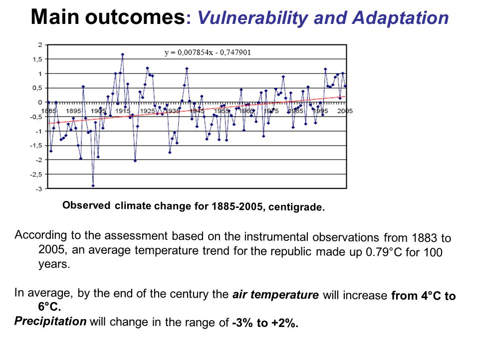 Main outcomes : Vulnerability and Adaptation Observed climate change for 1885-2005, centigrade. According to the assessment based on the instrumental