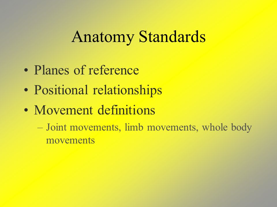 Anatomy Standards Planes of reference Positional relationships Movement definitions –Joint movements, limb movements, whole body movements