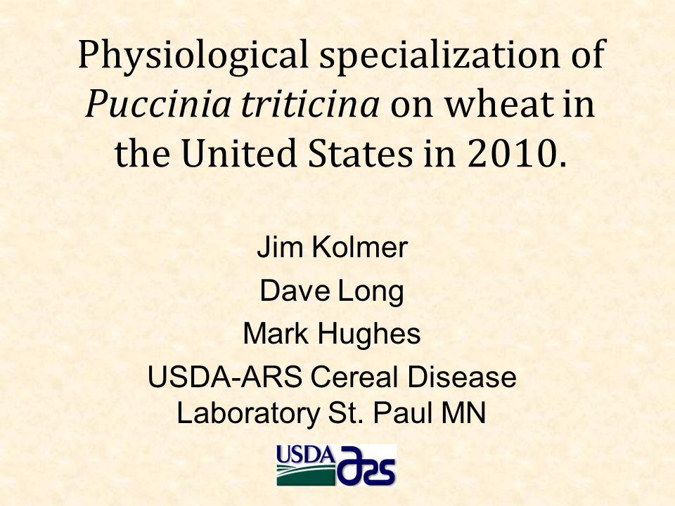 Puccinia triticina 2010 - USA 537 single uredinial isolates 40 virulence phenotypes total MLDS 30% (Lr9, Lr17, Lr39/41) TDBJG 23% (Lr2a, Lr24) TCRKG 13% (Lr2a, Lr26, Lr11, Lr18)