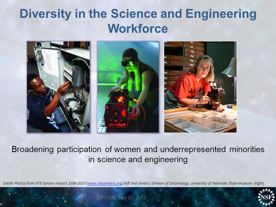 Diversity in the Science and Engineering Workforce Broadening participation of women and underrepresented minorities in science and engineering Credit: Photos from ATE Centers Impact 2008-2010 (www.atecenters.org) (left and center): Division of Entomology, University of Nebraska State Museum.