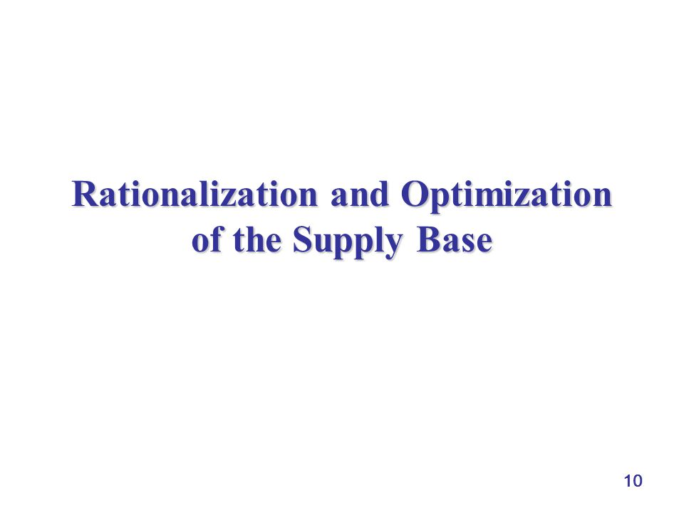 10 Rationalization and Optimization of the Supply Base