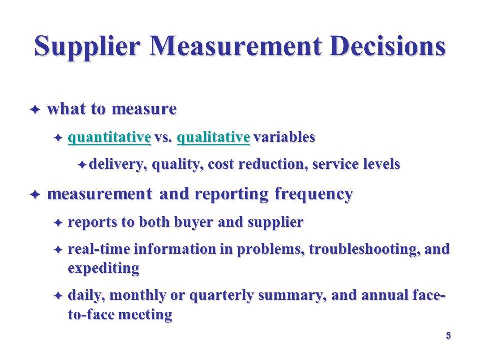 Supplier Measurement Decisions  what to measure  quantitative vs. qualitative variables quantitativequalitative quantitativequalitative  delivery,