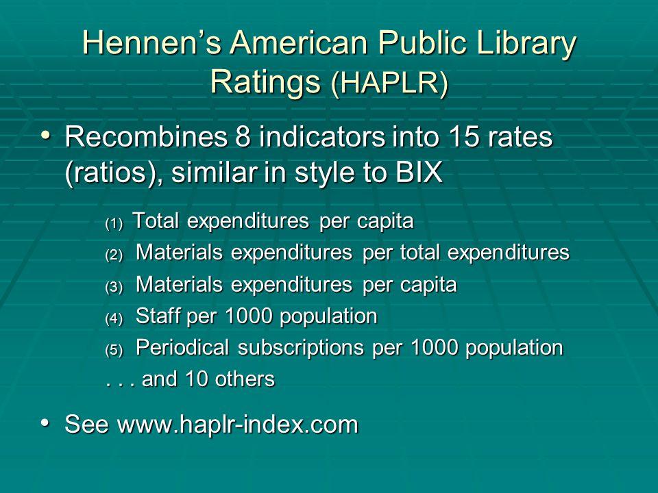 Recombines 8 indicators into 15 rates (ratios), similar in style to BIX Recombines 8 indicators into 15 rates (ratios), similar in style to BIX (1) Total expenditures per capita (2) Materials expenditures per total expenditures (3) Materials expenditures per capita (4) Staff per 1000 population (5) Periodical subscriptions per 1000 population...