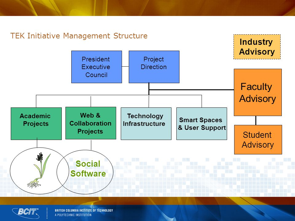 TEK Initiative Management Structure President Executive Council Project Direction Academic Projects Web & Collaboration Projects Technology Infrastructure Smart Spaces & User Support Social Software Faculty Advisory Student Advisory Industry Advisory