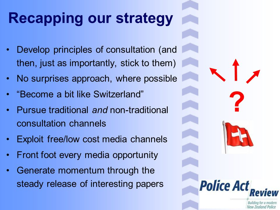 """Recapping our strategy Develop principles of consultation (and then, just as importantly, stick to them) No surprises approach, where possible """"Become"""